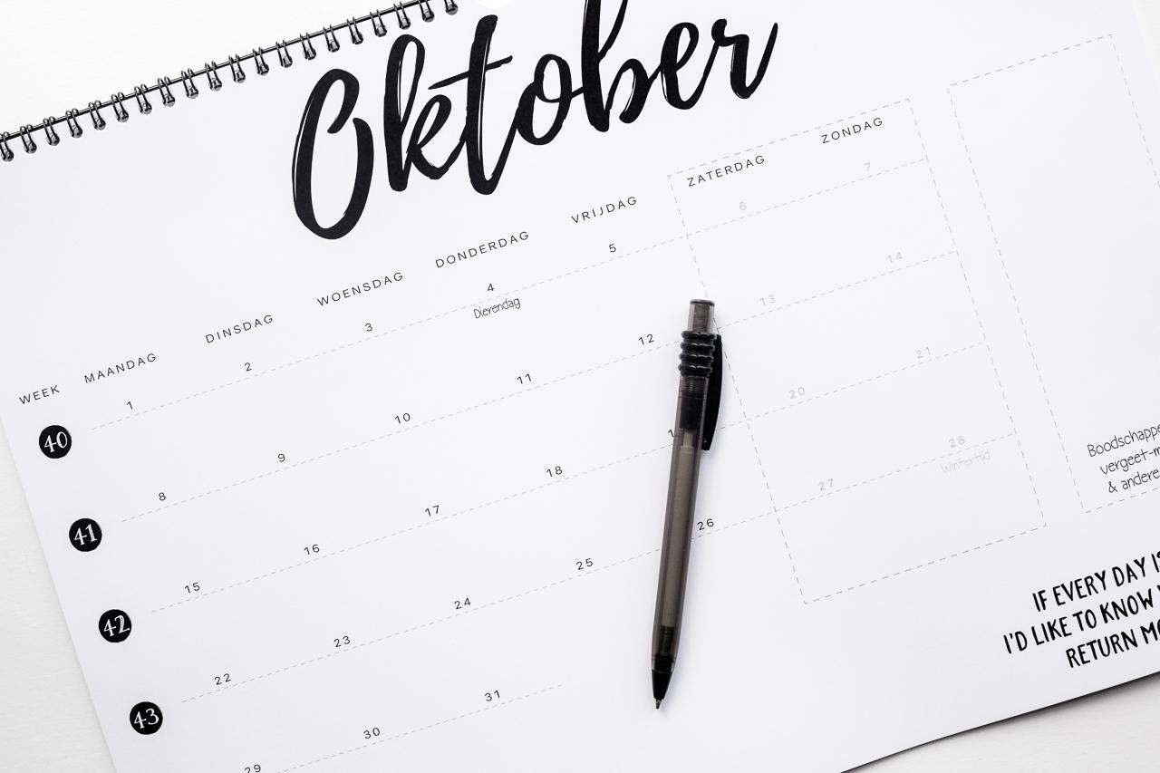 maandkalender zwart wit 2018 zoedt knetter